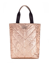 Victoria's Secret Metallic Rose Gold Quilted Tote Shopper 2017 Limited Edition - $19.79