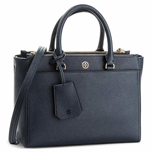Tory Burch Women's Small Robinson Double-Zip Leather Top-Handle Bag (Navy)