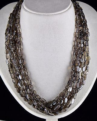 NATURAL SMOKY QUARTZ BEADS 8 LINE BLACK LONG CABOCHON LADIES NECKLACE