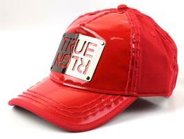 NEW TRUE RELIGION MEN'S PREMIUM SILVER METAL LOGO TRUCKER HAT CAP RED TR1965 image 3