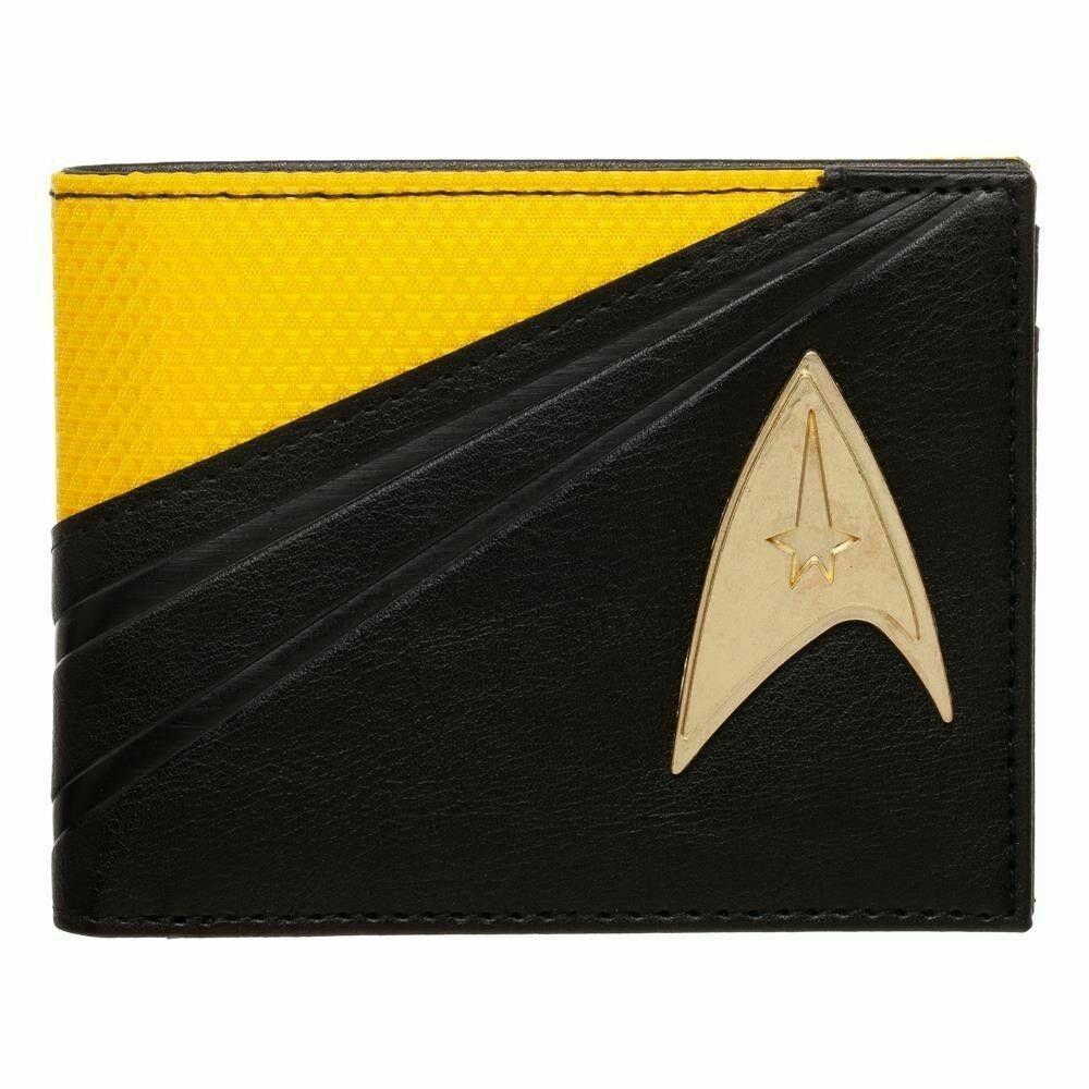 STAR TREK Metal Badge Bifold Wallet Yellow Black Captain Kirk Men's Faux Leather