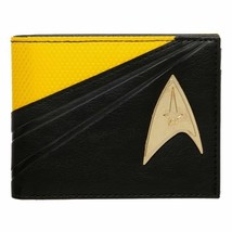 STAR TREK Metal Badge Bifold Wallet Yellow Black Captain Kirk Men's Faux... - $19.40
