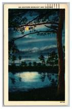 Southern Moonlight Amid Pines Postcard Posted Lumberton, NC North Caroli... - $6.92