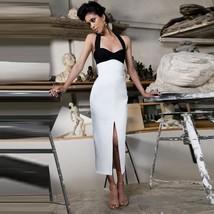 Women Halter Backless Sexy Midi Bandage Dress Bodycon Evening Party Dress
