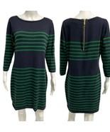 Michael Kors women's sweater dress 3/4 sleeve navy blue striped green si... - $21.77