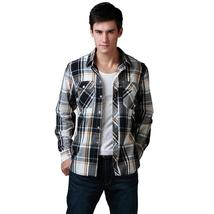 Wow! Men Shirt  Brand Long Sleeve Casual Shirt 100%Cotton Plaid Two Fron... - $51.96+