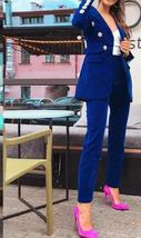 Women's Brand Designer Blue Velvet Embroidered Wear To Work Fashion Blazer Pant  image 3