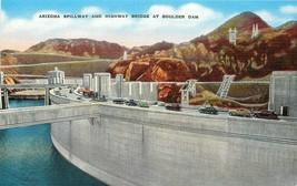 Linen Postcard NV E276 AZ Spillway Highway Bridge at Boulder Dam 1940s C... - $7.00
