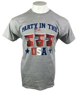 PARTY USA SOLO CUP ADULT GRAY T-SHIRT 4TH JULY PATRIOTIC M L XL 2XL FREE... - $9.99