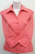 Talbots Top Women Petite Modern Career Casual Salmon Button Front Top Si... - $22.76