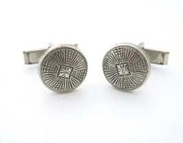 Button Cufflinks Silvertone Men's Vintage Lined Patterned Round Circle - $14.99