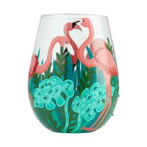 "Fancy Flamingo ""Designs by Lolita"" Stemless Wine Glass 20 o.z. 4.53"" H Giftbox image 2"