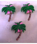 3 Palm Tree Button Covers - Green and Pink - 15mm - $8.00