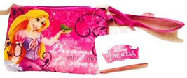 """Disney Princess """"dreams To Share"""" From Tangled Wristlet Coin Purse Pink Zipper"""