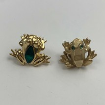 Avon Frog Pin Lot Tie Tac Hat Lapel Small Gold Tone Green Rhinestone Enamel - $19.76