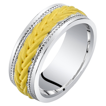 Men's 8mm Sterling Silver Two Tone Rope Design Wedding Band - $124.99