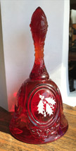 FENTON  Xmas RED BELL Holly Leaves & Berries  Signed A. Farley Beautiful... - $11.88