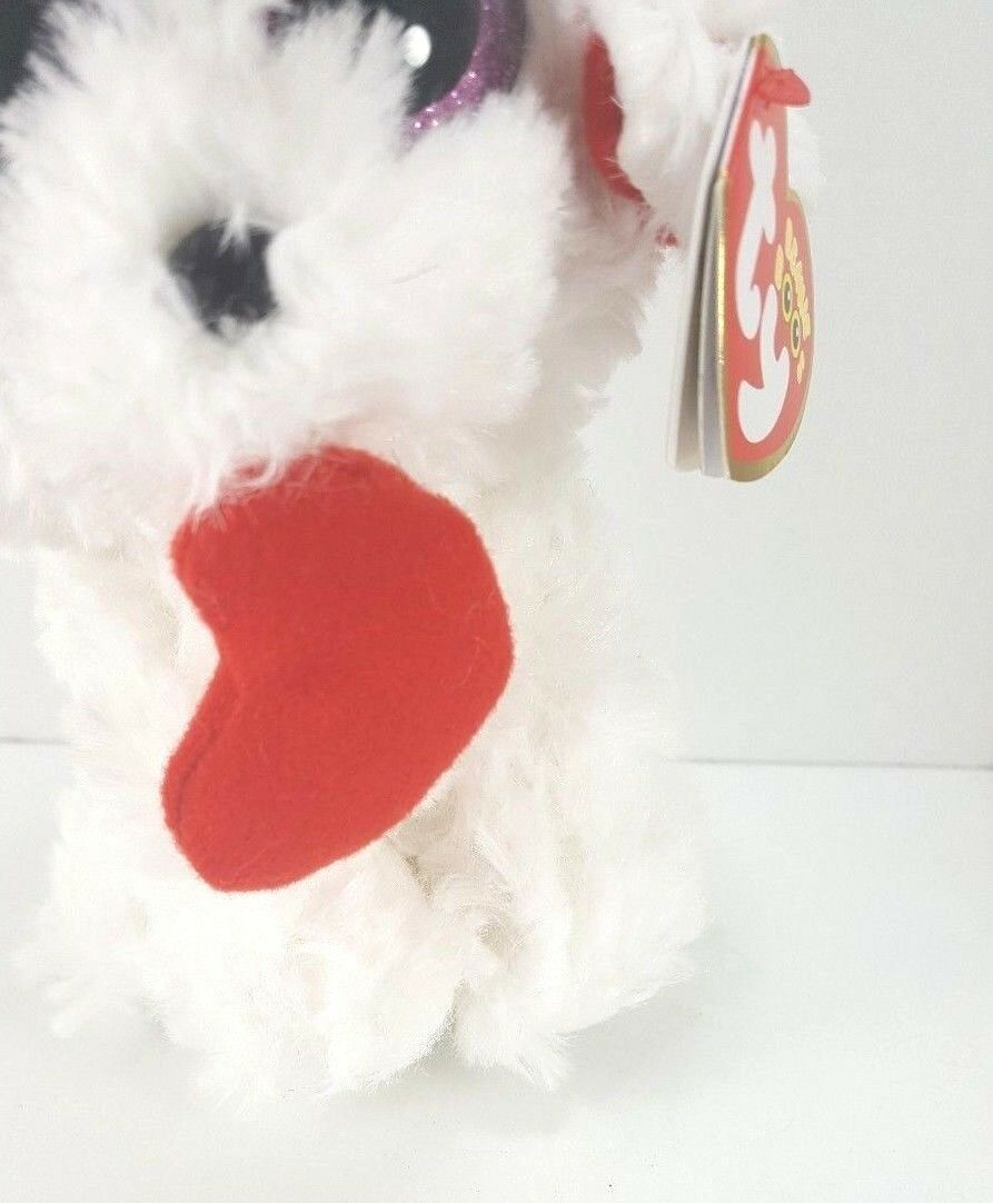 "Ty Valentine Honey Bun Poodle Puppy Dog Beanie Plush Stuffed Red Heart New 6"" image 3"