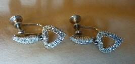 Beautiful Vintage 1970s Silvertone Rhinestone Dangle HEART Earrings Scre... - $15.00