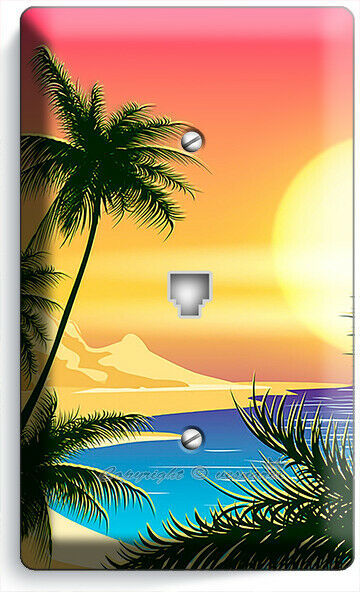 BEAUTIFUL CALIFORNIA SUNRISE PALMS PHONE TELEPHONE COVER WALL PLATES ROOM DECOR