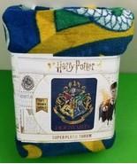 Harry Potter Hogwart Super Plush Throw Draco Dormiens Nunquam Titillandus Blue  - $25.25