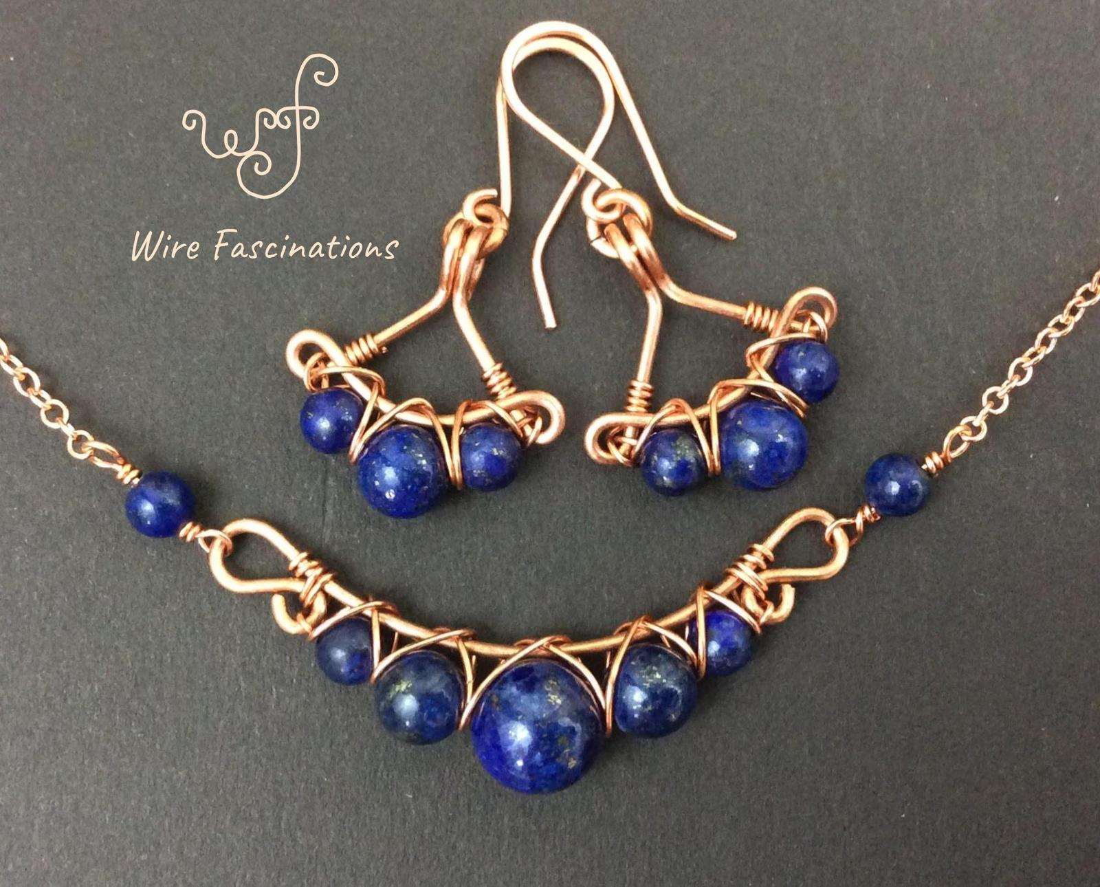 Handmade lapis lazuli necklace: criss cross copper wire wrapped image 12