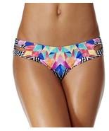 NEW BAR III Featheed Daze Reversible Black Multi Cheeky Bikini Bottom X... - $14.84