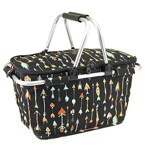 Arrow Print Metal Frame Insulated Market Tote