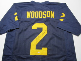 CHARLES WOODSON / AUTOGRAPHED MICHIGAN WOLVERINES CUSTOM FOOTBALL JERSEY / COA