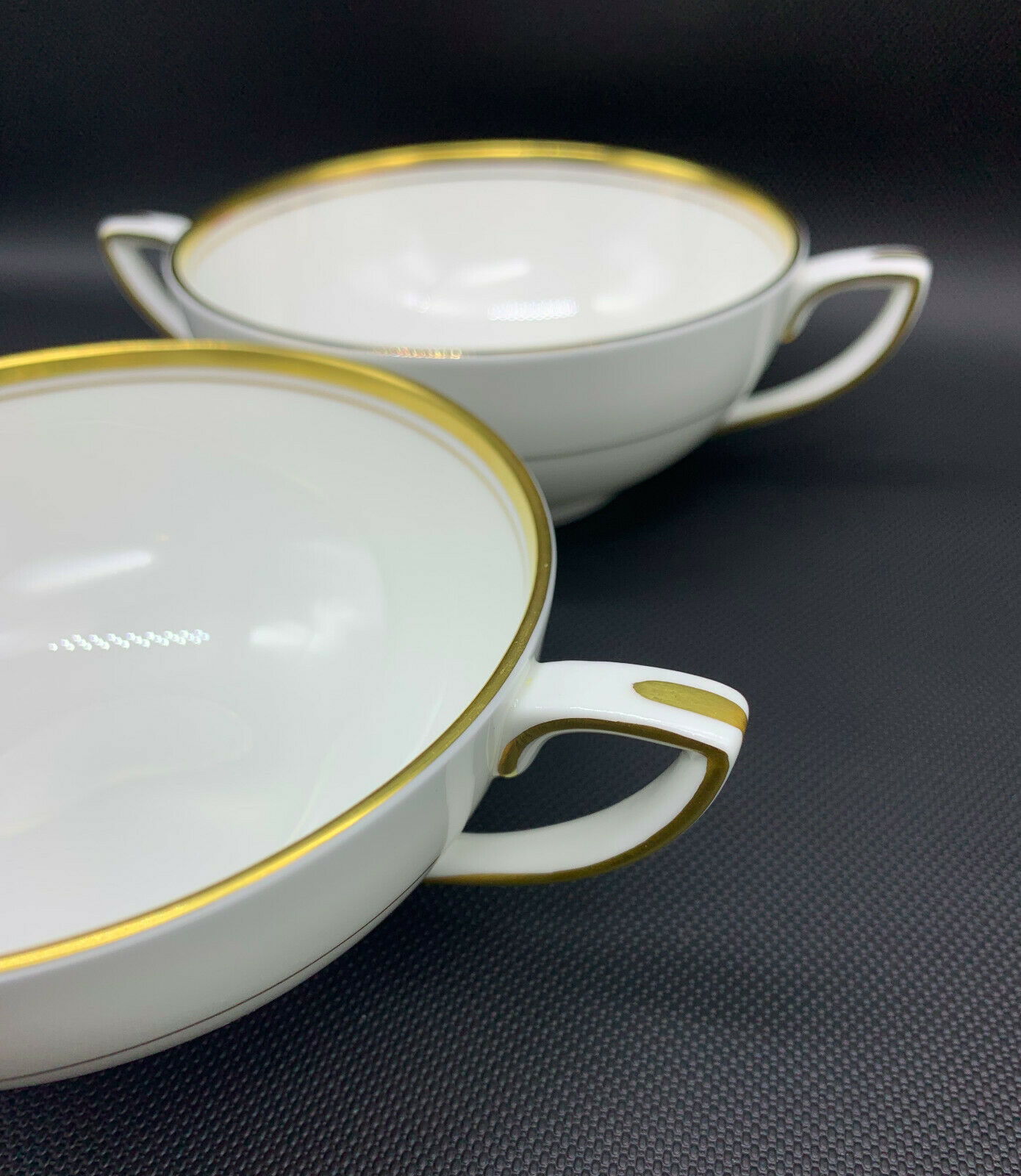 Set of 2 Royal Worcester VICEROY Gold Trim Cream Soup 51 Fine Bone China 19-1254