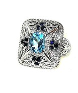 Blue Sapphire Blue Topaz  Ring  12.88 grams of silver size 7  - $103.83