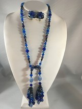 Vintage Set Marked West Germany Multi Blue Color Beads Glass & Lucite - $18.00
