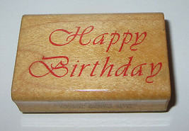 """Happy Birthday Rubber Stamp Comotion Retired Wood Mounted 2"""" Long - $5.44"""