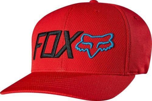 NEW AUTHENTIC FOX RACING MEN'S FITTED BLACK RED FLEXFIT TECH CAP HAT 15638
