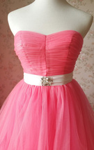 MELON RED Strapless Sweetheart Neck Hi-lo Tiered Tutu Skirt Bridesmaid Dress Cut image 6