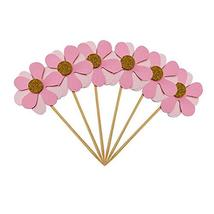 TRIXES 6PC Flicker Flower Petal Cake Toppers  Pink  Pretty Decorative Party Food - $2.25