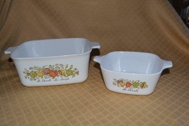 2 Corning Ware Pans Dishes Casseroles Spice of Life P43B P4B Loaf & petite + Lid - $29.05