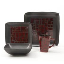 Gibson Elite Cabazon 16 Piece Soft Square Stoneware Dinnerware Set in Red - $75.74
