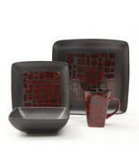 Gibson Elite Cabazon 16 Piece Soft Square Stoneware Dinnerware Set in Red - $74.56