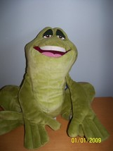 plush disney store green frog mc prince naveen reptile open mouth - $19.80
