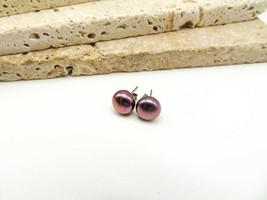 Leach & Garner Purple Pearl Sterling Silver Stud Earrings RR53 - $26.99