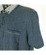 Denim & Flower Ricky Singh Blue Plaid Contrast Collar Knit Polo Shirt Me... - $29.99