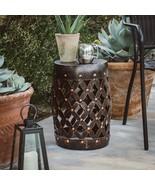 Black Bronze Finish Metal Lattice Garden Stool Patio Side Table Garden A... - $74.93