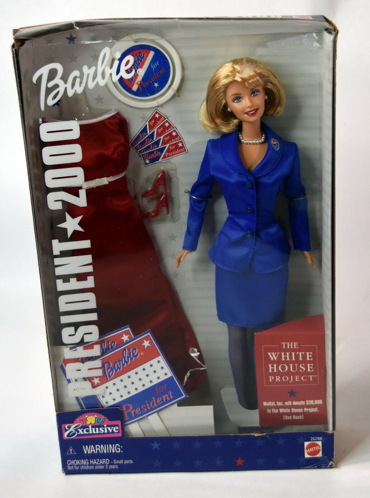 Mattel BARBIE Girls Blonde Doll NIB President 2000 Red Blue Dress White House