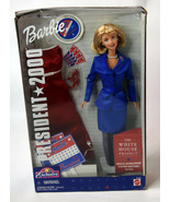 Mattel BARBIE Girls Blonde Doll NIB President 2000 Red Blue Dress White ... - $18.99