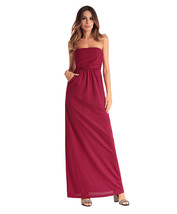 AOVEI Red Off Shoulder Pure Color Cocktail Night Out Long Maxi Beach Dress - $21.99