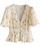 R.Vivimos Womens Summer Chiffon V Neck Short-Sleeve Button Down Floral S... - $40.51