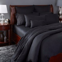 Sferra Larino Black Standard Pillowcases 100% Egyptian Cotton Solid Ital... - $99.00