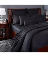 Sferra Larino Black Standard Pillowcases 100% Egyptian Cotton Solid Ital... - $95.00