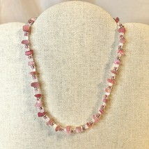Handcrafted Beaded Necklace Pink Silver White Stones Choker Spring Easter NEW - $34.65